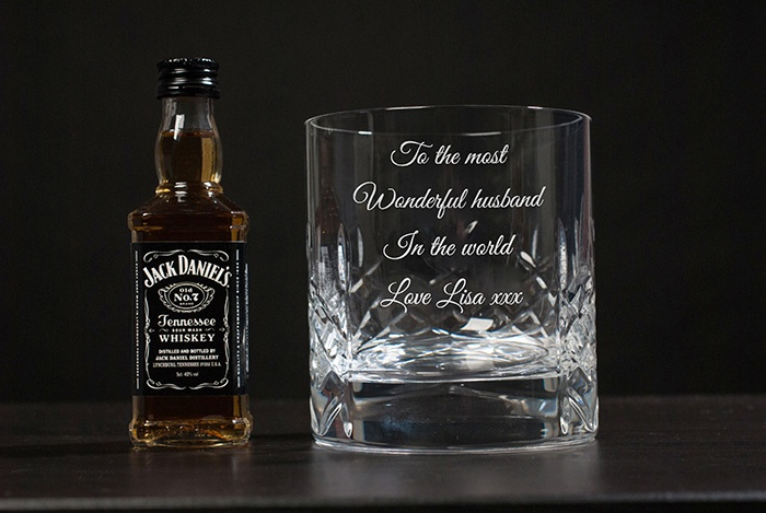 Engraved Crystal Tumbler and Jack Daniels Gift Set
