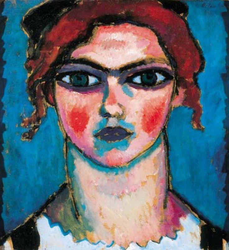 Alexei von Jawlensky - 1910. Mädchen mit grünen Augen (Chica con los ojos verdes). Öl auf Holz.