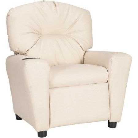 Flash Furniture Kids' Vinyl Recliner with Cup Holder, Multiple Colors, Beige
