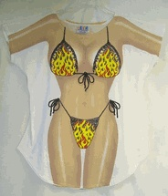 L. A Imprints Novelty Flames string bikini t-shirt cover-up one size or plus size