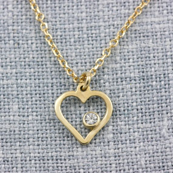 Heart gold necklace white gold rose gold solid by KyklosJewelryLab