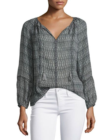 Joie Winther Mixed-Print Georgette Top, Caviar