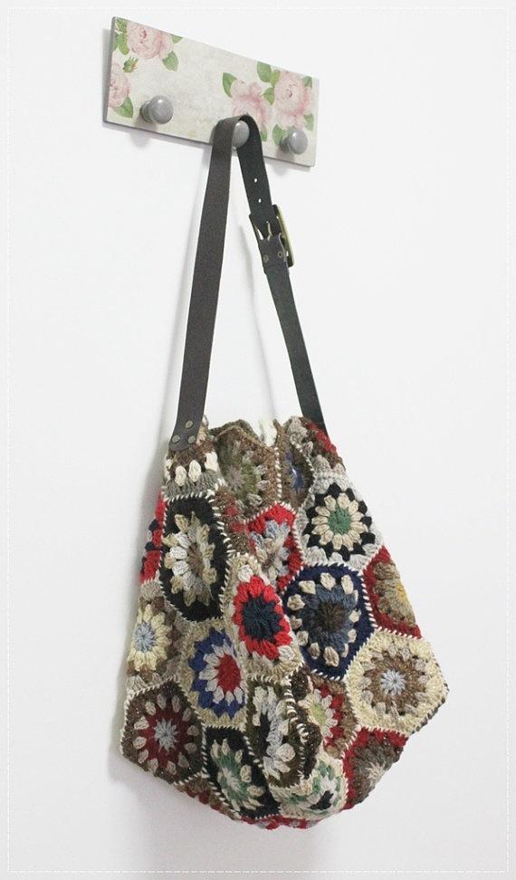 Trendy Crochet Multicolor Hexagon SholderBag by plezilla