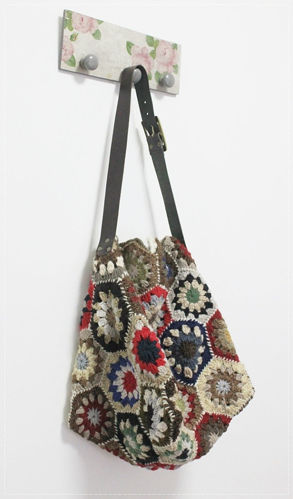 Trendy Crochet Multicolor Hexagon SholderBag by plezilla