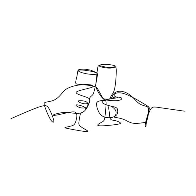 Un Dibujo Lineal De Aplausos Tintineo De Amigos Con Bebida De Vino De Bourbon En La Noche De Fiesta Despues De La Ilustracion Vectorial Dibujo De Imagenes Pred Line Drawing Drawings