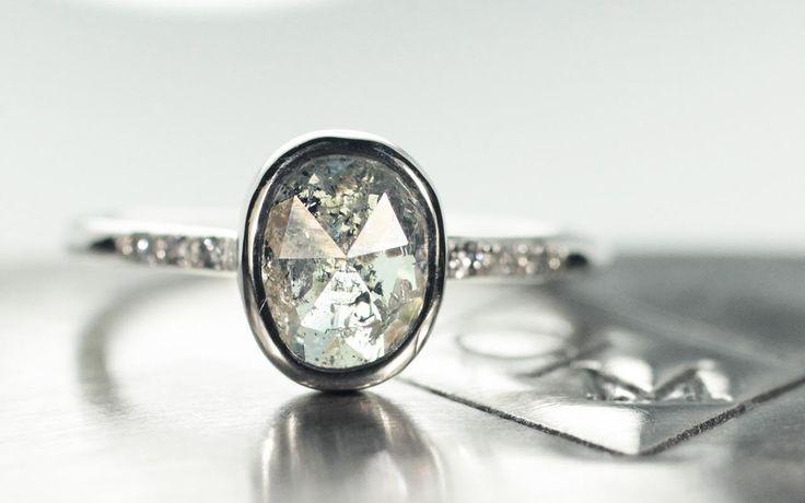 1.70 Carat Salt & Pepper Diamond Ring in White Gold - CHINCHAR•MALONEY