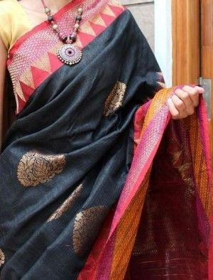Saree - Aesthetic black banaras dupion silk saree online shopping India | EthniQ | Sweet Couch