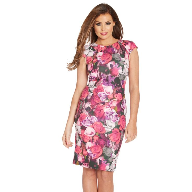 Keep up with floral this season in this pink floral print bodycon dress featuring cap sleeves and pleated waist detail. The perfect look to take from day to night.