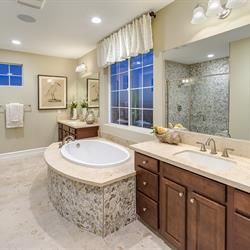 Relax in style with the Bluebird master bath at Phoenix Crest, new homes by Benchmark Communities in Rancho Cucamonga