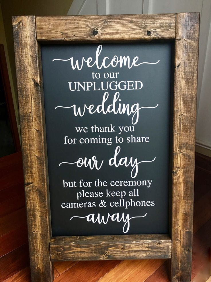 UNPLUGGED WEDDING - Welcome Wedding Chalkboard Easel Sign Wedding Day Decor Wedding Sign Aisle Decor Calligraphy Rustic Sign Wedding Quote by ShellBellesShoppe on Etsy https://www.etsy.com/listing/509012838/unplugged-wedding-welcome-wedding