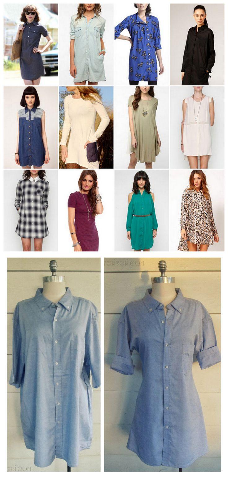 DIY Men's Shirt to Women's Shirt Dress Restyle Tutorial ...