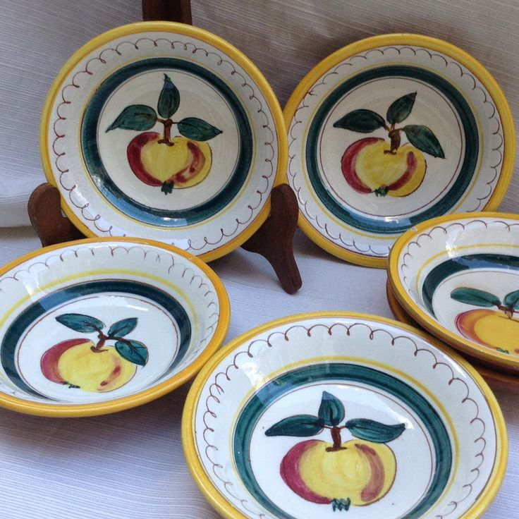 Set of six Stangl FRUIT fruit / pudding dishes & 28 best Stangl Pottery images on Pinterest | Dinnerware Dishes and ...