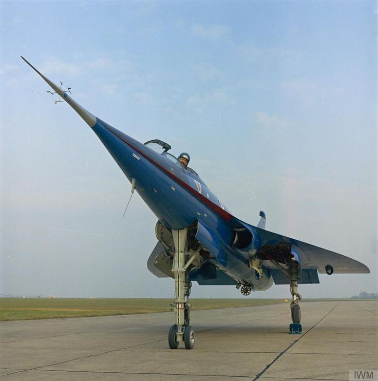 A marshaller's view of the BAC 221 (WG774) experimental supersonic aircraft.