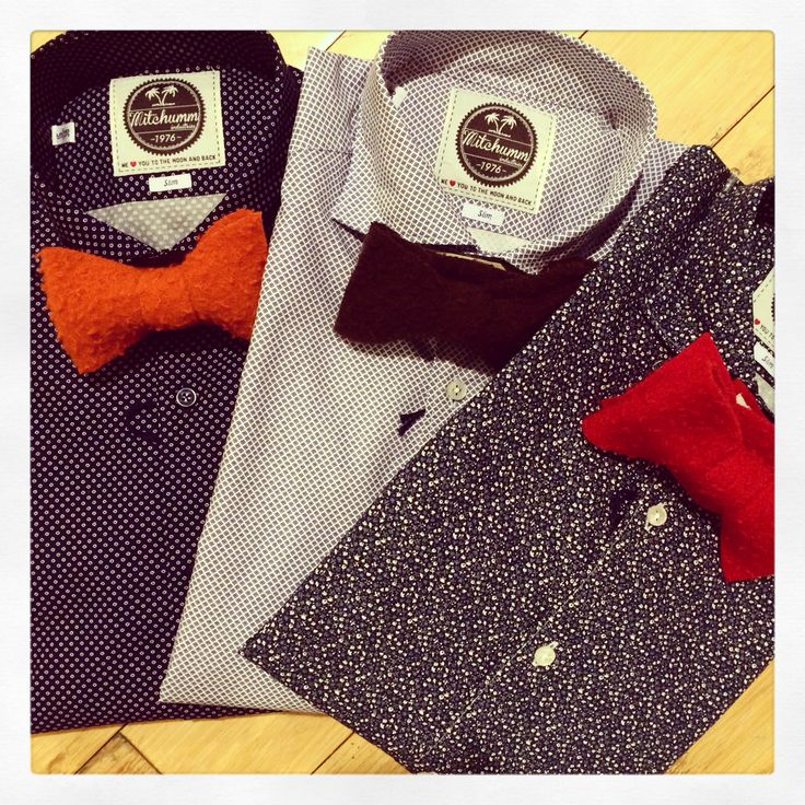 New printed shirts with micro textures, casentino wool bowties. Love this combination!