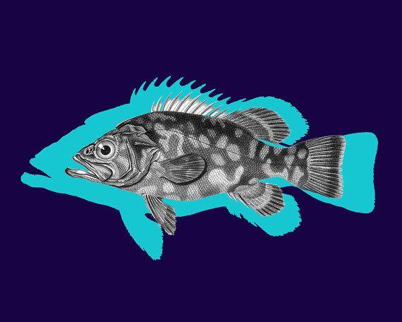 Atlantic wreckfish. Magnificent Vintage Blue Fish. Printable Sea Wall Art, Marine Print, Nautical, Beach House Decor. Digital print. Instant download. Art print in 8x10' size.