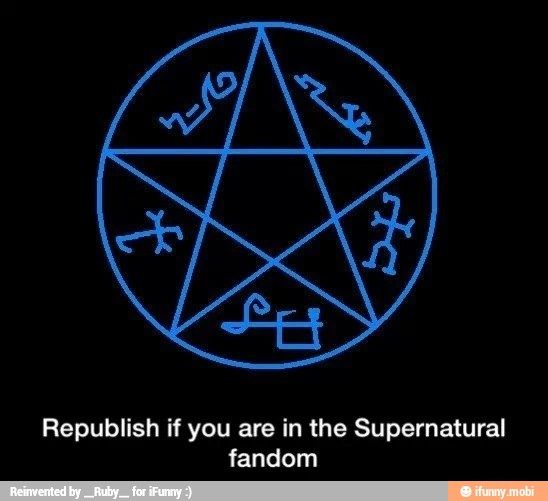 I am hacking my friend's account and I am in the Supernatural fandom so this is for you Bethany :3