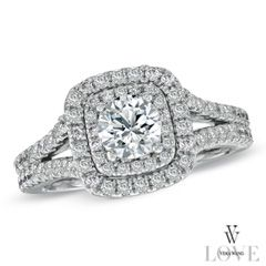 Vera Wang LOVE Collection 1-1/2 CT. T.W. Diamond Frame Split Shank Engagement Ring in 14K White Gold - View All Jewelry - Gordon's Jewelers