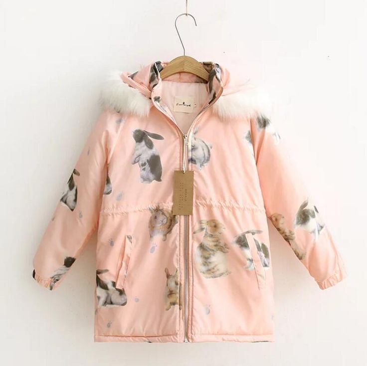 >> Click to Buy << Thick winter Japanese female rabbit printed hooded loose long section of the students  #Affiliate