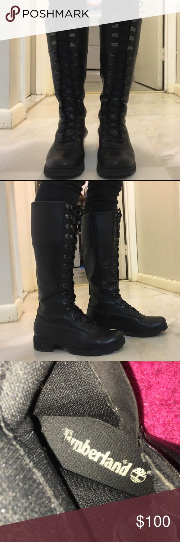 Timberland Boots Knee high boots, In great condition, Waterproof, Combat boot style                                                                                                  💰Will consider official offers  📬 Fast shipping  🏡 Smoke & pet free home  📦 Bundle to save 20%.                                       💕 Share for share  🙋🏻 Questions welcomed! Timberland Shoes Lace Up Boots