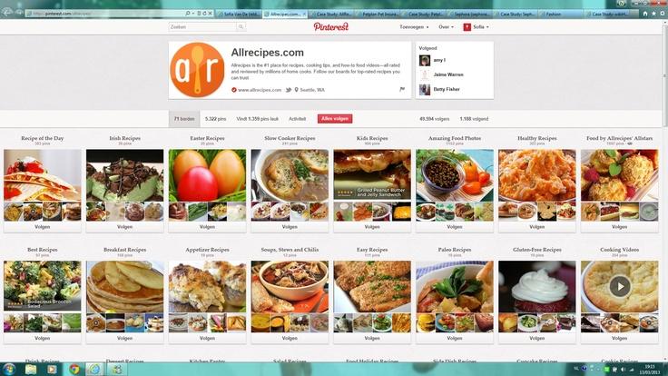 De site Allrecipes.com maakt op een heel goede manier gebruik van Pinterest. Ze pinnen duizenden gerechten van hun site op Pinterest. Je vindt er gezonde, gemakkelijke, Mexicaaans, Ierse, vegetarische halloween, koekjes, dranken... recepten. Keuze genoeg dus! Je hoeft enkel te klikken op de foto en je komt op de site van Allrecipes waar je de ingrediënten en de bereidingswijze terugvindt. Ook is er een bord met 254 kookvideo's! Heel interessant voor de mensen die graag eens iets nieuws…