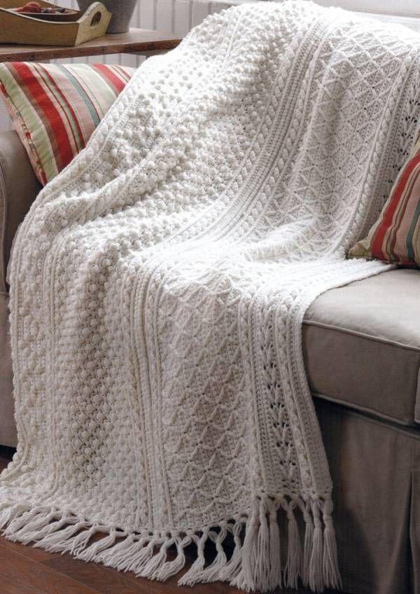 Crochet Pattern Aran Afghan : 5 Stunning Aran Crochet Afghan Basketweave Sampler ...