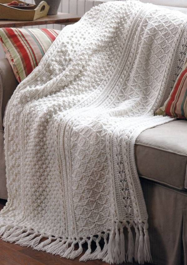 Crochet Aran Baby Blanket Pattern : 5 Stunning Aran Crochet Afghan Basketweave Sampler ...