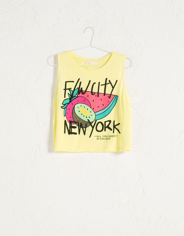 Camiseta BSK cropped texto estampado - Camisetas - Bershka España