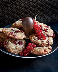 Beautiful Christmas Cookie that would be a wonderful baked gift! Big White Chocolate, Almond and Cranberry Cookies Recipe on Food & Wine