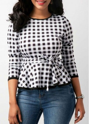 Belted Three Quarter Sleeve Plaid Print Blouse on sale only US$29.58 now, buy cheap Belted Three Quarter Sleeve Plaid Print Blouse at Rosewe.com