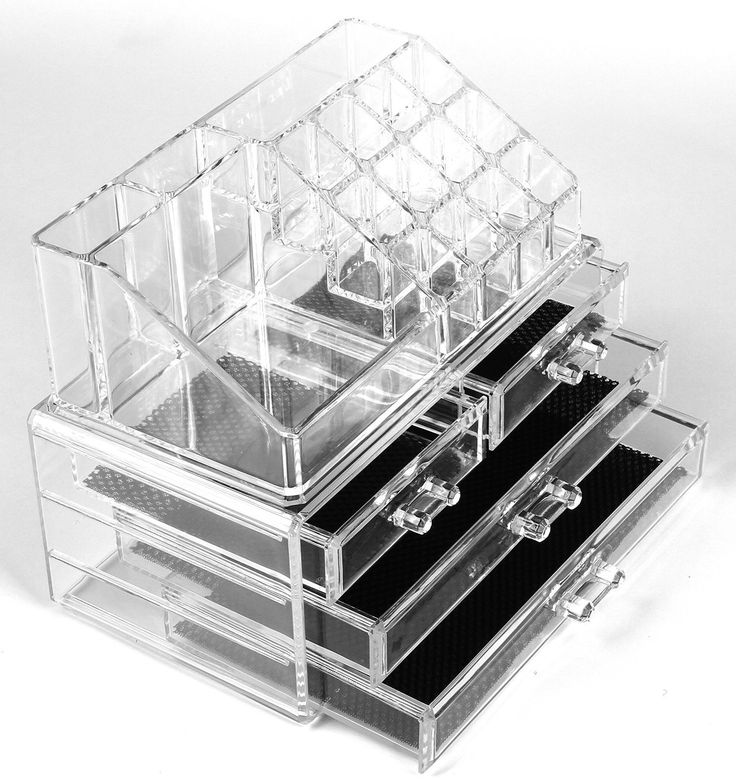 Double Layer Beauty Clear Acrylic Cosmetic Drawer Make Up Nail Polish Varnish Display Stand Organiser: Amazon.co.uk: Beauty