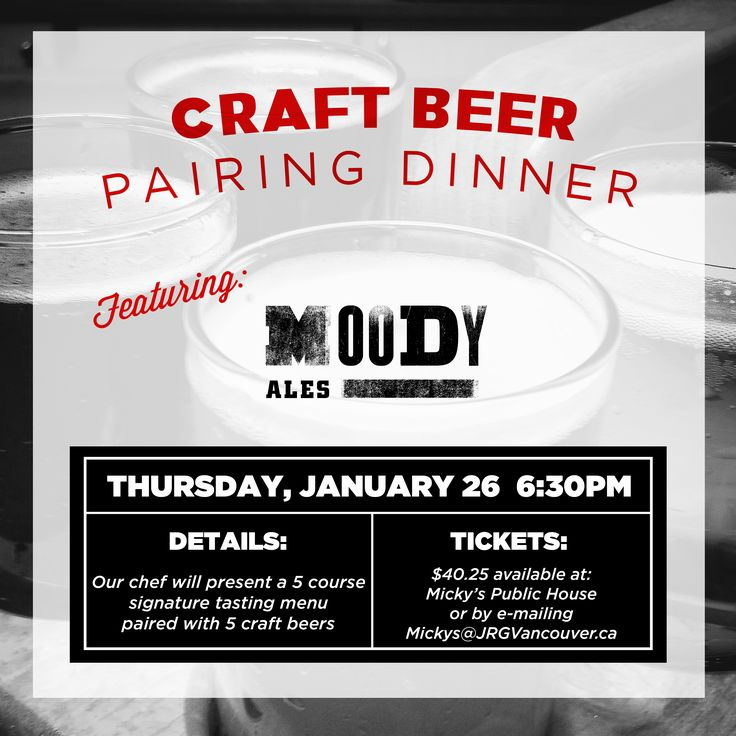 A 5 Course Moody Ales Pairing Dinner at Micky's Public House – January 26 ‹ Joseph Richard Group