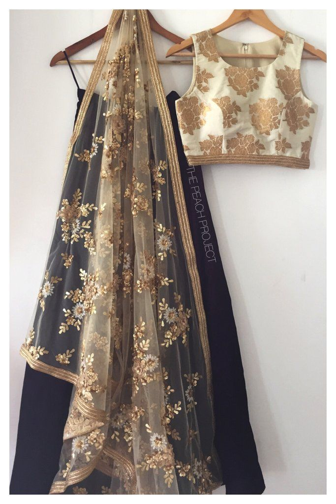 The Black and Gold Madison Lehenga Set