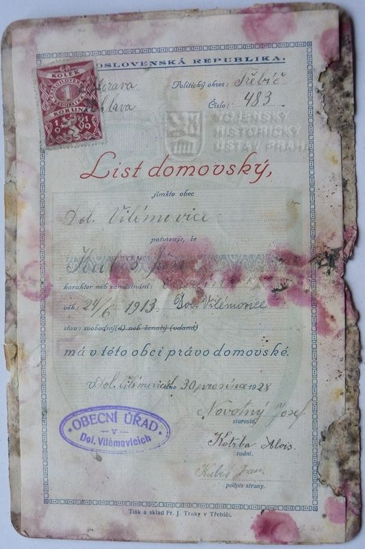 Home listing of Jan Kubiš, that was found in his house during restoration.