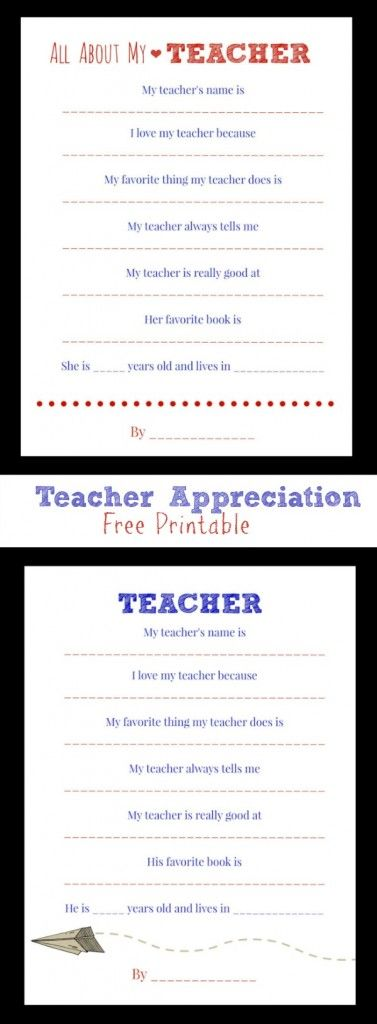 Show Your Teacher Some Love! Teacher Appreciation Week - Free Printable