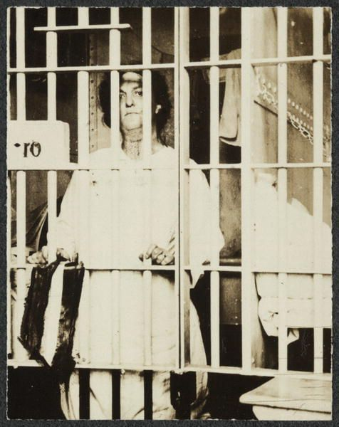 "Helena Hill Weed (pictured) served a 3-day sentence in a D.C. prison for carrying a banner that proclaimed: ""Governments derive their just powers from the consent of the governed."""