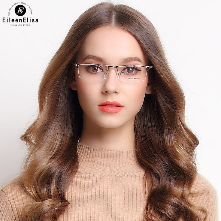 EE New Titanium Eyeglasses Frames Fashion Half Rimless Glasses Men's Titanium Glasses Optical Frame Oculos De Grau