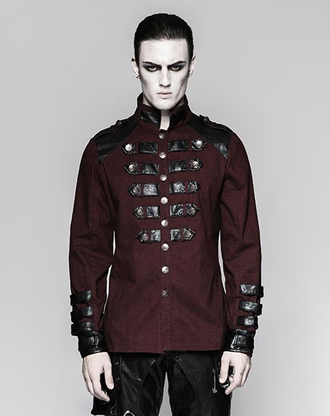 Red men's shirt, military gothic, modern casual, dieselpunk clothing, alternative style, men's dress shirt, formal shirt, rivethead