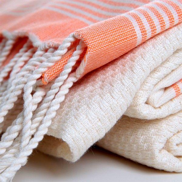 Organic Bamboo Pestemal Towel with Hued Stripes