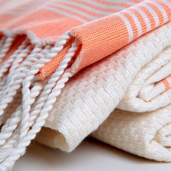 Organic Bamboo Pestemal Towel with Hued Stripes
