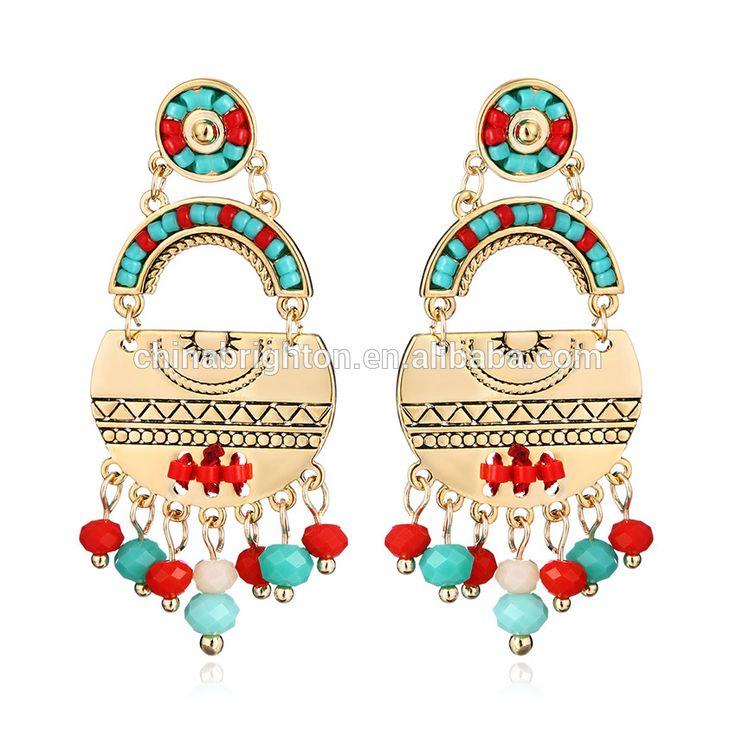 New Fashion Colorful Gemstone Drop Earring Elegant Women's Copper Estud Earring 2-9663b-7150