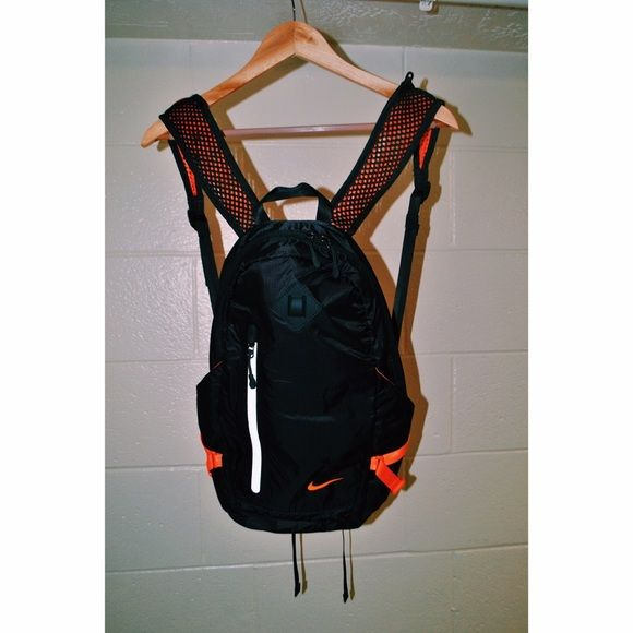 Nike Mesh Backpack New condition, sleek black and orange workout bag, small & lightweight Nike Bags Backpacks