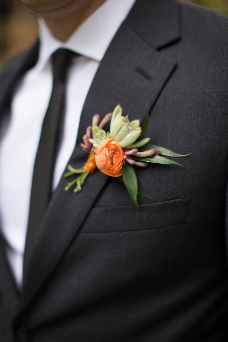 orange boutonniere