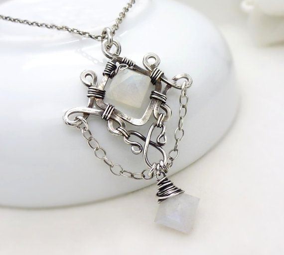 Sterling silver moonstone necklace, wire wrapped jewelry, handmade wire wrapped necklace, moonstone gothic necklace