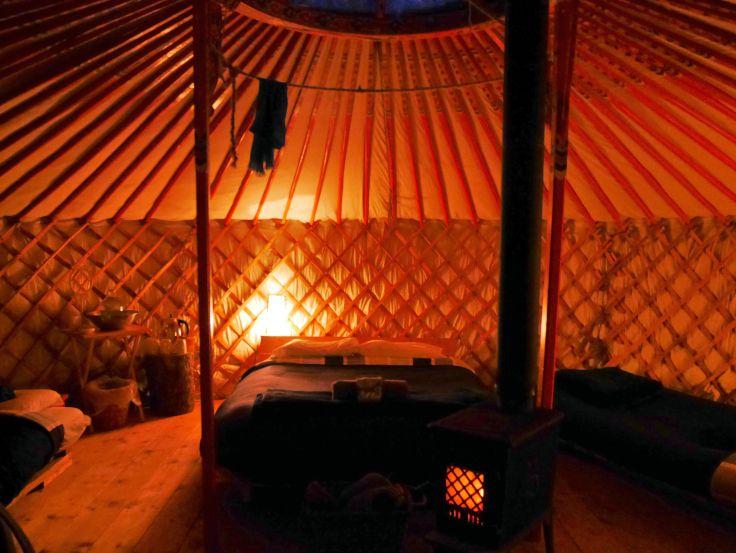 Inside the yurt at Traveling Light | Cowley Lakes, Yukon, Canada