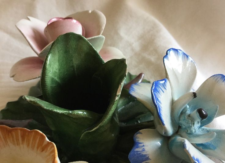 Vintage Nuova Capodimonte Made in Italy Flower Bouquet With Taper Candle Holder   eBay