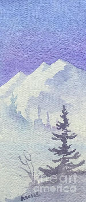 Steep Mountain. watercolor by Teresa Ascone. Simple ideas to transfer to a wall.