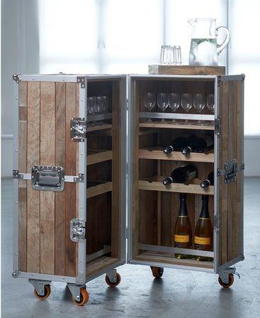 industrial loft reclaimed teak trunk bar cabinet. Black Bedroom Furniture Sets. Home Design Ideas
