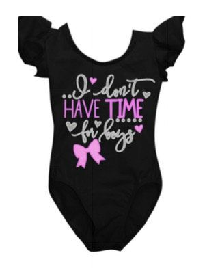 No time for boys leotard by CocosPersonalDesigns on Etsy