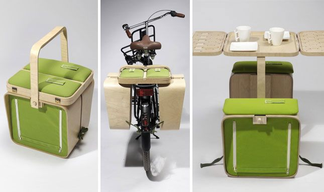 A picnic basket, picnic table, and bike trunk in one? So cool.