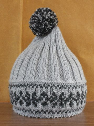 Hand Knitted Fair Isle Hat Grey